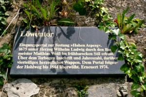 Tafel am Löwentor
